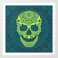 sugar skull Art Prints featuring Sugar skull by Julia Badeeva