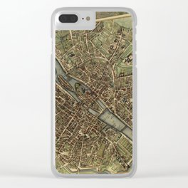 Old Paris Map and other manuscripts Clear iPhone Case
