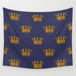 Royal Blue with Gold Crowns Wall Tapestry
