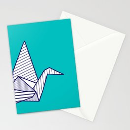 Swan, navy lines on turquoise Stationery Cards
