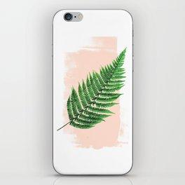 Fern Leaf on Pink iPhone Skin