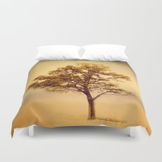 Amber Gold Cotton Field Tree Duvet Cover