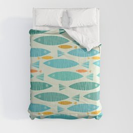 Shimmering Scandinavian Fish In Blue And Gold Pattern Comforters