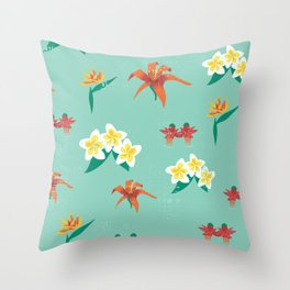 Exotic Vintage Flowers Throw Pillow