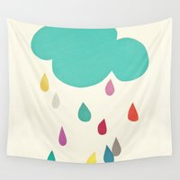 sunshine Wall Tapestries featuring Sunshine and Showers by Cassia Beck