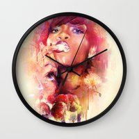 rihanna Wall Clocks featuring Rihanna by turksworks