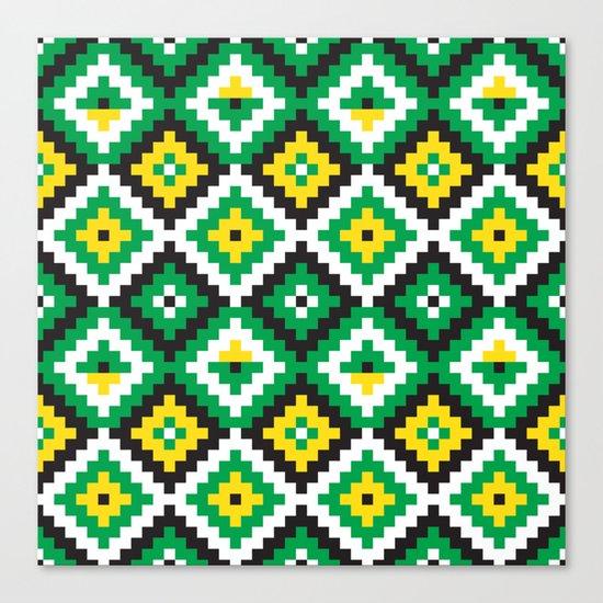 Aztec pattern - green, yellow, black, white Canvas Print