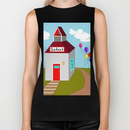 An Ole School House with Balloons Biker Tank