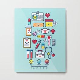 Proud To Be a Nurse Pattern / Blue Metal Print