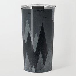 Dark Mystery Abstract Geometric Triangle Peak Wood's (black & white) Travel Mug