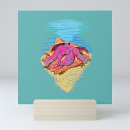Colorful hermit crab in conch shell - Teal Mini Art Print