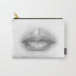 Pouty Sexy Lips Pencil Art   Graphite Drawing   Sexuality   Face Carry-All Pouch