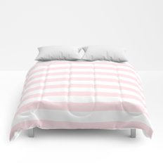 Stripes Pink Flamingo on White Comforters