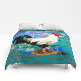 Provencal cock against the background of Van Gogh Comforters