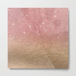 Rose Gold Glitter Crumbled Foil Ombre Gradient Metal Print