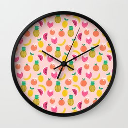 Fruit summer spring pattern print tropical island pineapple cherry strawberry banana fresh hot  Wall Clock