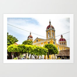View of Granada Cathedral at the Center of Parque Central De Granada in Nicaragua Art Print
