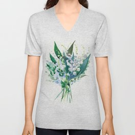 Lilies of the Valley, floral bouquet art,design spring flowers turquoise green white sky blue floral Unisex V-Neck