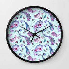 Paisley Rain Aqua Wall Clock