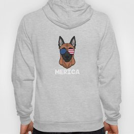 Patriotic America Malinois Dog Owner Gift Hoody