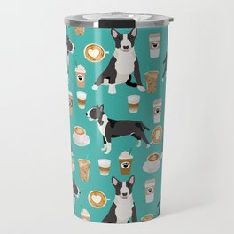 Bull Terrier coffee latte cafe dog breed cute custom pet portrait pattern Travel Mug