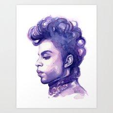 Prince Portrait Purple Watercolor Art Print