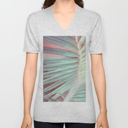 Tropical Leaf in Pink and Aqua Unisex V-Neck