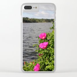 Seaside Wild Roses Clear iPhone Case