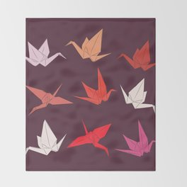 Japanese Origami paper cranes sketch, symbol of happiness, luck and longevity Throw Blanket