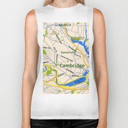 Map of Cambridge, MA, USA Biker Tank
