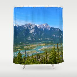 Overlooking the Athabasca River from the Morrow Peak Hike in Jasper National Park, Canada Shower Curtain