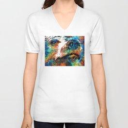 Colorful Bear Art - Bear Stare - By Sharon Cummings Unisex V-Neck