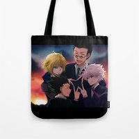 hunter x hunter Tote Bags featuring Hunter x Hunter: Forever by akayashi