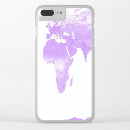wOrld Map Lavender Clear iPhone Case