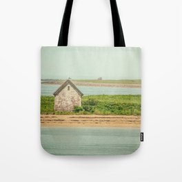 Little Beach House with Seagull Atop Tote Bag