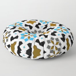 Oriental Pattern - Geometric Design, blue / brown Floor Pillow
