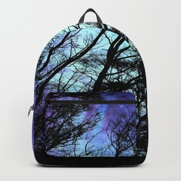 black trees periwinkle blue aqua space Backpack