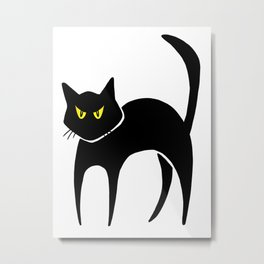 Halloween Black Cat Metal Print