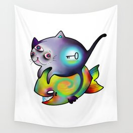 cat,fish and riddle Wall Tapestry