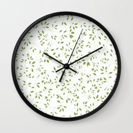 Leaves Pattern in Green & White Wall Clock