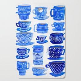 Coffee Mugs and Tea Cups - A study in blues Cutting Board