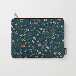 Retro Botanical Dark Carry-All Pouch