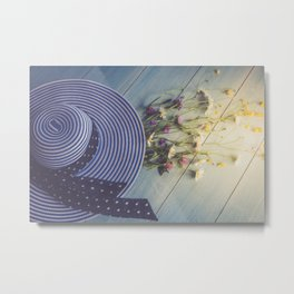 Female hat, striped, bouquet of wildflowers, top view. Metal Print