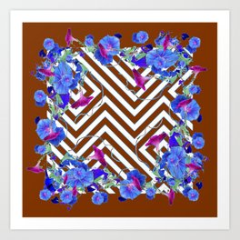 Coffee Brown Blue Morning Glories Abstract Pattern garden  Art Art Print