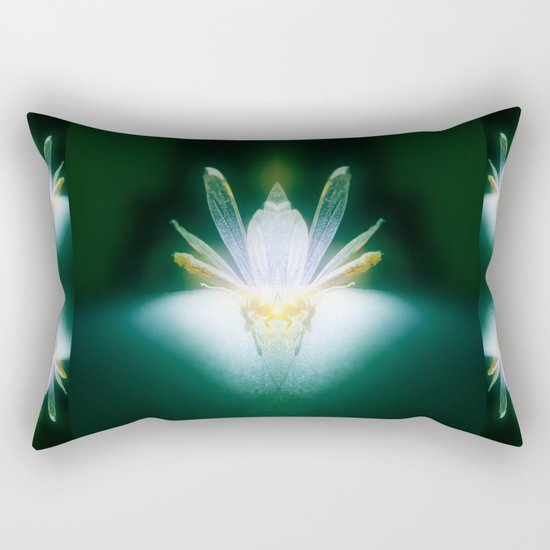 DragonFlower blooms in darkness, lighting fears that lurk inside us Rectangular Pillow