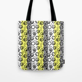 Circles and rings on striped background 2 Tote Bag