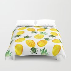 Pineapple vibes || watercolor Duvet Cover