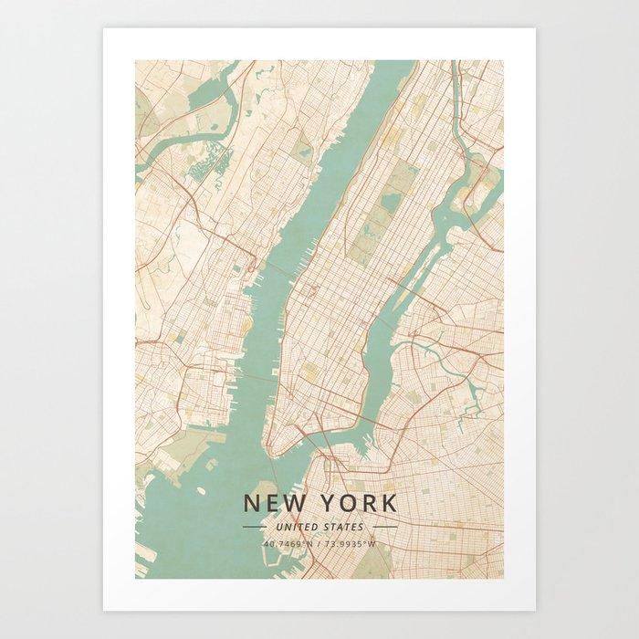 New York, United States - Vintage Map Kunstdrucke