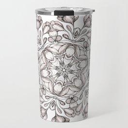 light broun flowers mandala Travel Mug