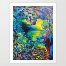 FLIGHT ON TAP - Whimsical Colorful Feathers Fountain Peacock Abstract Acrylic Painting Purple Teal Art Print
